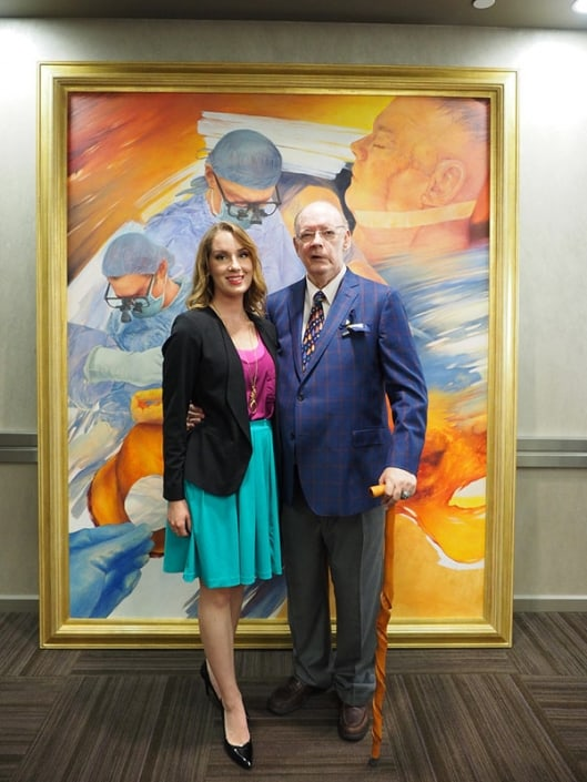 """Me and artist Taryn M. Nicoll at the unveiling of """"Time Out: Tufaro, Cooney, and Colton."""" The 8' x 6' piece was transported to Baltimore and unveiled in the William H. Welch Medical Library. It was gifted to the Johns Hopkins Department of Plastic and Reconstructive Surgery in the name of my surgeon, Dr. Anthony Tufaro."""
