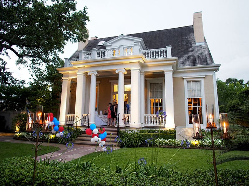 Hosting a party for the American Cancer Society. Garden District house was bought in 1984.