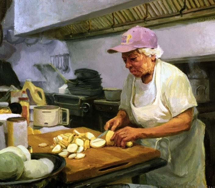 """""""Cutting Squash,"""" immortalizing the beloved Leah Chase in her kitchen, wearing her proverbial hat. The painting by Gustave Blache III is currently on display at the National Portrait Gallery, Smithsonian Institution."""