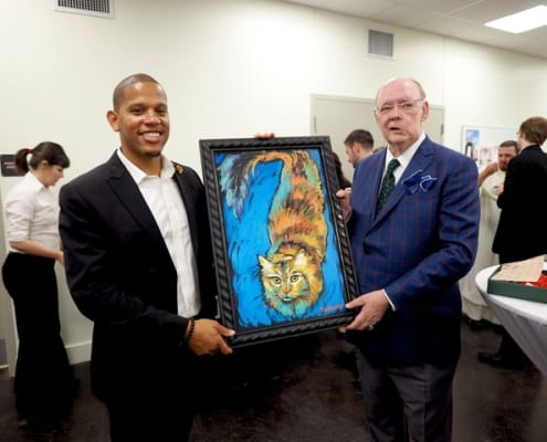 Terrance Osborne surprises me with a painting of my dear departed cat Pookie. This portrait lives in my heart and hangs in my hallway.