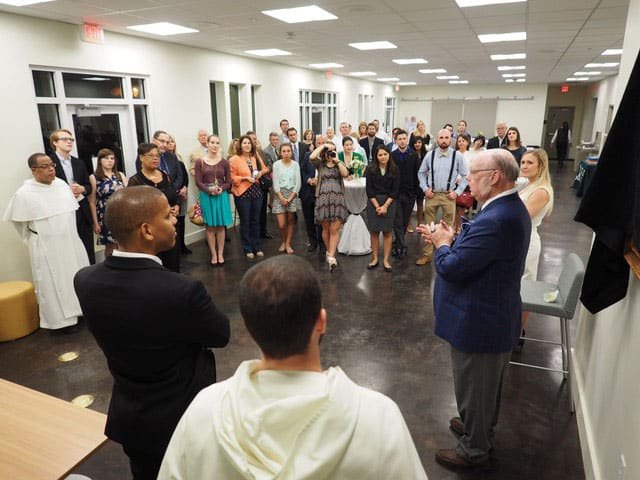 Talking to the group gathered for the unveiling in the beautiful new building at Tulane University.