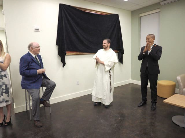 I am introduced as the unveiling ceremony begins at the Fr. Val A. McInnis, O.P. Tulane Catholic Center.