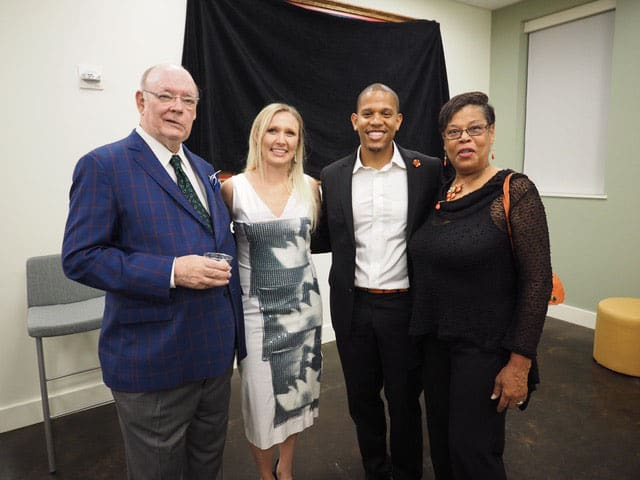 Me with Madelaine Kuns, Director of Development, artist Terrance Osborne, and his mother, Sylvia Osborne, celebrating the gift of Terrance Osborne's painting to the Fr. Val A. McInnis, O.P. Tulane Catholic Center.