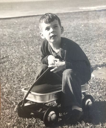 Me with my favorite radio flyer wagon, 1948.