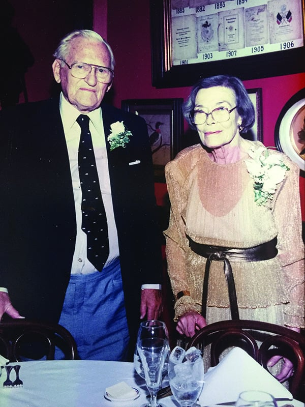 Mom and Dad in their later years at popular Antoine's Restaurant. They especially loved having meals there with the entire family in attendance.